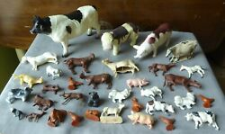 Lot Of 35 Antique, Vintage Toy Animals, Horses, Cows, Sheep, Pigs +more