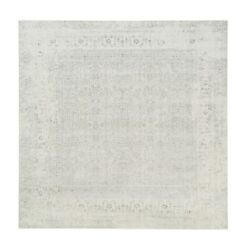 10and039x10and039 Hand Loomed Fine Jacquard Silver Gray Wool And Silk Square Rug R62841