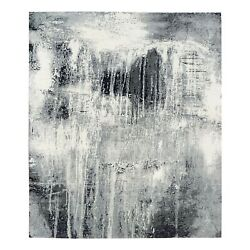 8'2x10'3 Black And Gray Abstract Design Wool And Silk Hand Knotted Rug R62877