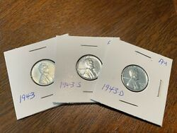 1943 P,s,d Au Steel Lincoln Wheat Penny Set Of 3