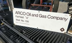 Original Porcelain Arco Oil And Gas Company Sign Gas And Oil