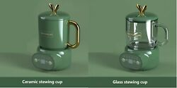 600ml Mini Electric Stewing Cup Digital Display Screen With Ceramic Or Glass Lid