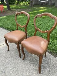 Antique Balloon Back Ornate Vintage Carved Wood Leather Seat Chairs
