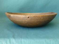 Antique Out Of Round Turned Wooden Butter Bowl