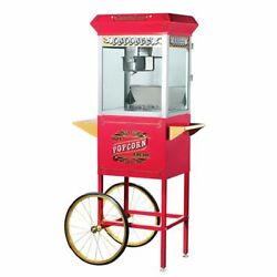 Great Northern Red Antique Style 8 Oz Popcorn Popper Machine W/cart, 8 Ounce