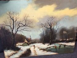 Antique Oil Painting On Board Winter Ice Skating Scene Country Signed Landscape