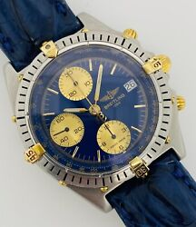 Breitling Chronomat Automatic Chronograph Blue Dial 18kt Gold And Steel B13047
