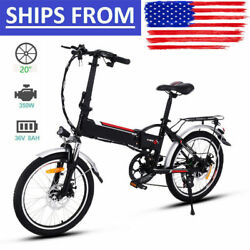 Folding Electric Bike 7-speed Ebike 20and039and039 Electric Bicycle W/ Removable Battery