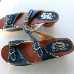 Exc Nobil's Wood Sole Leather Two Strap Navy Slides Sz 8b