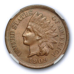 1909 S 1c Indian Head Cent Ngc Ms 62 Bn Uncirculated Brown Key Date San Franc...