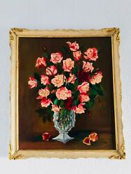 26 A. F. Diaz 1964 Antique Oil Painting Floral Flowers Red Roses Gilt Wood