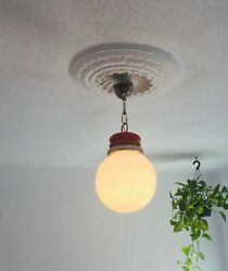 ✨ 60s 70s Red Milk Shade Vintage Mid Century Ceiling Swag Lamp Light Space Retro