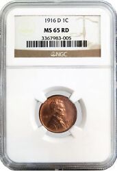 1916 D 1c Lincoln Wheat Cent Ngc Ms65 Rd Gem Uncirculated Key Date Coin