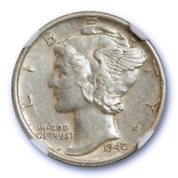 1942/1 10c Mercury Dime Ngc Au 55 About Uncirculated To Ms Overdate 1942/41