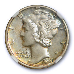 1942/1 10c Mercury Dime Ngc Au 50 About Uncirculated Overdate 1942/41 Toned