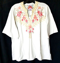 Nwt Johnny Was Plus Sz 1x Rianne Tee Top Embroidered Cotton Knit Floral Sand Tan