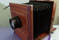 Vintage Wooden Wood Camera Germany 18x24cm And Industar 37 4.5/300 Lens 2209