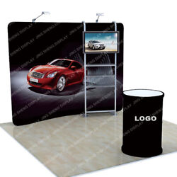 10ft Trade Show Display Booth Set Back Wall With Tv Stand Shelves Lights Counter