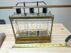 Vintage Mid-century Retro Gin Bourbon Scotch Glass Decanter Set With Carrier