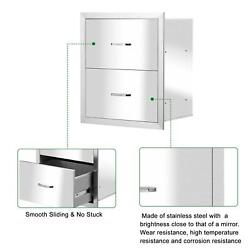 Stainless Steel Bbq Double Triple Drawers Outdoor Kitchen Door Silver