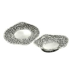Pair Of Antique Victorian Sterling Silver Dishes/bowls 1886