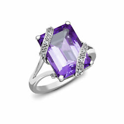 18ct White Gold Diamond 7ct Amethyst Cocktail Solitaire Ring 16mm