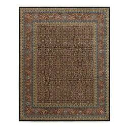 8and039x10and0391 Herati Design Hand Knotted 175 Kpsi Midnight Blue Wool-silk Rug R62984