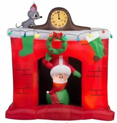 Gemmy 5 Ft Santa's Head Popping Down At Fireplace Airblown Inflatable Nib