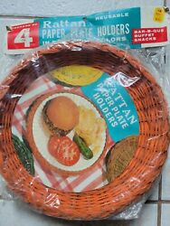 Vintage Rattan Wicker Paper Plate Holders Pkg Of 4 New Old Stock Open Package