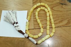 Antique Natural Kahraman Amber Germany Rosary Prayer Islamic Beads Marbled 31gr