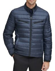 Marc New York Mens Grymes Racer Jacket Blue Medium M Zip Quilted Puffer 275 117