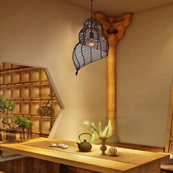 Conch Snail Bamboo Wicker Rattan Shade Led Pendant Chandelier Hanging Lamp E27