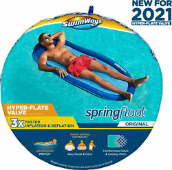 SwimWays Spring Float Inflatable Pool Lounger with Hyper Flate Valve