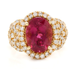 6.50 Carats Natural Rubellite And Diamond 14k Solid Yellow Gold Ring