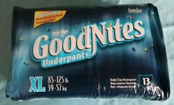 Vintageandnbsp Xl Goodnites Factory Sealed All White Diapers Boys And Girls 13 Ct New