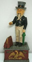 Wilton Products Reproduction Uncle Sam Mechanical Cast Iron Coin Bank