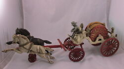 Antique Dent Cast Iron Horse Drawn Fire Hose Reel Toy Two Horses