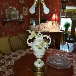 Antique Capodimonte Porcelain Lamp With Birds And Flowers 35