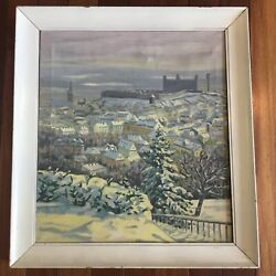 Vintage Impressionist Landscape Oil Painting Signed Budapest Hungary In Winter