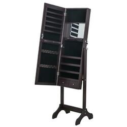 Jewelry Cabinet Armoire With Beveled Edge Mirror Organizer Large Capacity Brown
