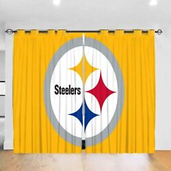 Pittsburgh Steelers 2 Panel Blackout Bedroom Living Room Window Curtain Drapes