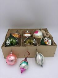 1950's Glass Christmas Tree Decorations Balls Large And Small Mid Century Vintage