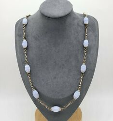 Whitney Kelly Wk Sterling Silver 925 Carved Blue Lace Agate Necklace 32