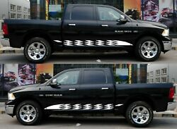 For Dodge Ram 1500 2500 Cover Door Side Stripe Graphic Top Chrome Hitch Bar