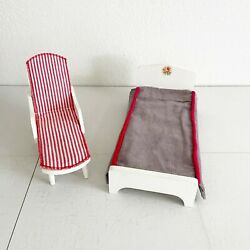 Vintage Hall's Life Time Toys Wooden Hall's Pool Beach Lounger And Bed Mid Century