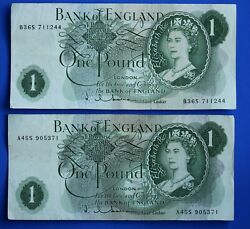 2x Bank Of England One Pound £1, Hollom A45s And B36s Banknotes [22426]