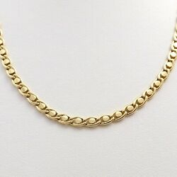 18k Gold 750 Italy Style Coffee Bean Link Chain Necklace 20in 17gr New