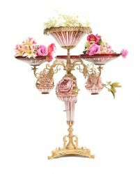 French Glass Epergne Gilt Centrepiece Tiered Dish Empire Display