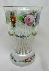 Antique BOHEMIAN WHITE OVERLAY Hand Painted Floral Glass VASE