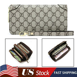 Women Clutch Phone RFID Card Zip Purse Large Holder Capacity Bag Leather Wallet $11.99